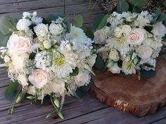 Vintage Boho gorgeous white & blush bouquets by The Bayview Florist Wedding Studio in Sayville, NY. Contact Marion at maz851@aol.com