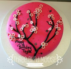 By Three Blind Moose Specialty Cakes, Korumburra. Cherry Blossom Cake, Cherry Blossoms, Hot Pink Cakes, Cake Decorating, Decorating Ideas, Birthday Cakes For Women, A Little Party, Specialty Cakes, Piece Of Cakes