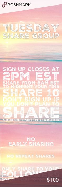 "2/14 Tuesday Share Group Sign up closes at 2pm est💞Tag your name to sign up💞Write ""new"" if you're new💞Share 10 for sale items from everyone who signs up💞No sharing until 8am est. Share by midnight your time💞Share to your followers, NOT to parties💞Be Posh compliant or you may be skipped💞Mark your spot with ***and first 3 letters of where you left off💞Sign out when done💞 Be fair and do your part or you will be blocked💞Please only ask questions in the Q&A listing under ""other.""💞No…"