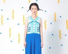 Ice blue Vacation House Button Up Knitted Dress