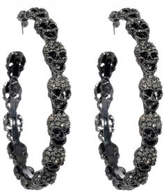 † Ɠℴ†ℎḯℭ † ༺♕✵♔༻╰☆╮ ♦dAǸ†㉫♦ Amrita Singh Skull Hoop Earrings Skull Earrings, Skull Jewelry, Gothic Jewelry, Crystal Earrings, Crystal Jewelry, Hoop Earrings, Jewlery, Skull Bracelet, Black Jewelry