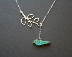 Turquoise bird necklace, silver leaf necklace, bird jewelry, branch lariat necklace, blue bird necklace, mothers day gifts