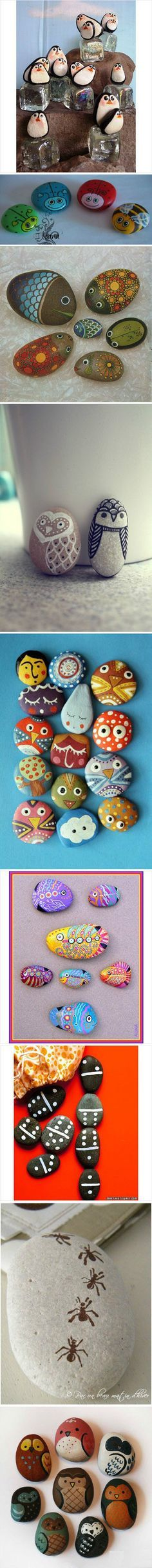painted rocks. great kid project. and, yes, they won't look like this, but they'll have fun gathering the rocks and painting whatever inspires on them.