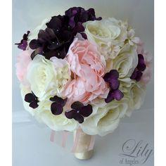 Artificial Silk Flower Wedding Bridal Bouquets Plum/Ivory/Pink