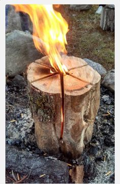 """Swedish flame - burns for hours Cut in pie shape leaving 6"""" on bottom uncut. Pour in lighter fluid and ignite."""
