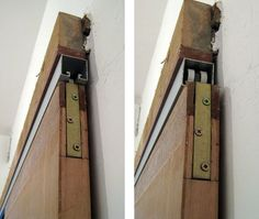 Reform reform: How sliding doors work . Sliding Door Design, Sliding Door Hardware, Pocket Door Installation, Porta Diy, Barn Door Designs, Diy Barn Door, Barn Doors, Folding Doors, Pocket Doors
