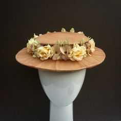 Belle Epoque Vintage Straw Flowers Small Brimmed Hat Boater