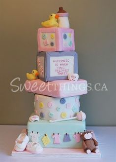 SweetThings  A 5-tier Baby Shower Cake in Pink! Cute Bakery bb01c451ca2a