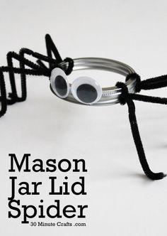 Mason Jar Lid Spider  |  30 Minute Crafts