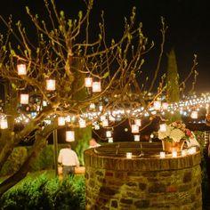 Candle bedecked night at Casale de Pasquinelli. Design by My Tuscan Wedding, Gabriele Pasquinelli, Wedding & Co., Verdissimo Fiori, photo by Facibenifotografia