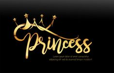 Exclusive princess typo with golden crown and black background. - Buy this stock illustration and explore similar illustrations at Adobe Stock Queen Wallpaper Crown, Queens Wallpaper, Doodle Lettering, Lettering Design, Logo Design, Night Suit For Girl, Princess Logo, Alphabet Templates, Bff Drawings