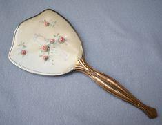 Flowered Hand Mirror Mid Century Vintage Vanity