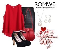 """ROMWE: Red PU Satcheles"" by teez-biz-nez ❤ liked on Polyvore featuring women's clothing, women's fashion, women, female, woman, misses and juniors"