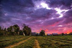 Sun sets over a farm (Berkshire, Vermont) by Bernard Lebleu on 500px