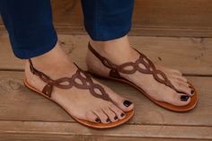 Brown Leather Sandals Flat Sandals by BangiShop -- so cute and comfortable
