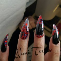 "Black Stiletto Nails With Red and Blue Glitter and Rhinestones or as I call them ""humanclaws"""
