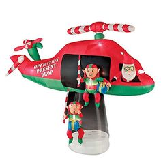 This huge Airblown® inflatable scene is a magical way to greet your neighbors and holiday guests. This cute inflatable will be the talk of the town. Santa's elves parachute out of the helicopter to help Santa deliver the presents on Christmas Eve. Animated Christmas Decorations, Outside Christmas Decorations, Christmas Holidays, Christmas Ornaments, Christmas Trees, Christmas Inflatables, Animation, Elves
