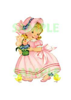 Vintage Girl with Baby Ducks, digital, download, printable, vintage greeting card. $2.00, via Etsy.