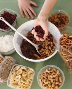 Healthy Trail Mix – Mix whole-wheat pretzels, wheat Chex, Craisins or raisins, chocolate chips, dried fruits, seeds, and nuts (optional) together
