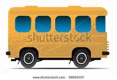 Yellow bus, vector illustration - stock vector