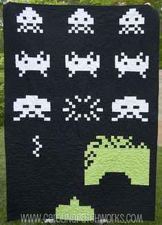 Space Invaders Quilt - could probably graph out and make with small grannies.