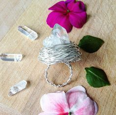Quartz Crystal Cluster Wire Wrap Ring crystal by UrbanGypsyGems