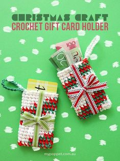 New Cost-Free Crochet gifts card holder Suggestions Crochet Gift Card Holder Christmas Ornament Christmas Gift Card Holders, Gift Card Boxes, Diy Christmas Gifts, Christmas Ideas, Christmas Baskets, Christmas Tree, Christmas Things, Christmas Projects, Holiday Ideas