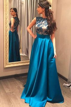 Charming High Neck Blue Lace Satin Long Prom Dress Evening Party Dresses LD215