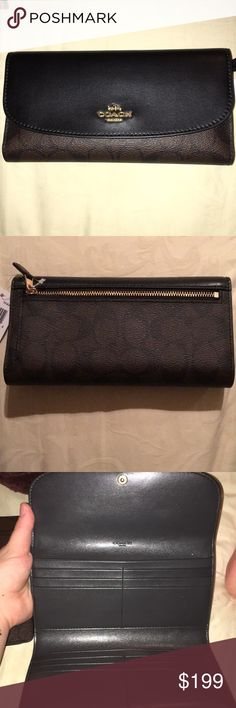 Authentic Coach wallet New With Tags black and brown C-lettered Coach Wallet. Comes with detachable check holder. Traditional and never going to go out of style. Must have wardrobe essential. Save $51 or make an offer! Coach Bags Wallets