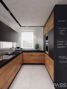 Dark, light, oak, maple, cherry cabinetry and wood kitchen storage cabinets. CHECK THE PIN for Lots of Wood Kitchen Cabinets. Contemporary Kitchen Cabinets, Modern Kitchen Design, Interior Design Kitchen, Black Kitchens, Cool Kitchens, Wooden Kitchens, Small Kitchens, Long Narrow Kitchen, Open Kitchen
