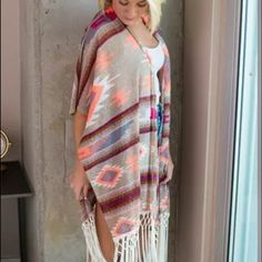 Aztec tribal print fringe cardigan Brand new ! Works well as a one size fits all, due to its oversized and Flowy fit. Perfect for spring Sweaters Cardigans