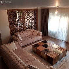 Salon, Orta sehpa, Ceviz Mobilya, Duvar dekorasyon, Lazer kesim duvar paneli, Ayna, Ahşap, Krem, Fon perde