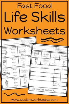 These life skills worksheets are perfect for independent work stations in special education classrooms. Can be used in middle school and high school life skills classrooms to practice community skills required for eating at a fast food restaurant. Life skills activities play a huge role in the curriculum for students with special needs. Use these printable worksheets to practice skills like dollar up, reading a receipt, ordering from a menu, finding prices and much more!