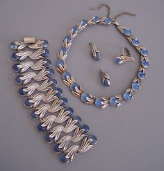 Necklace, bracelet, ring and earrings | Los Castillo.  Sterling silver and blue glass.  ca. 1950