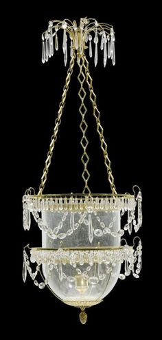 LANTERN, late Louis XVI, probably Sweden, 19th century. Matte and polished gilt bronze with glass and crystal hangings. D 50 cm, H 100 cm.