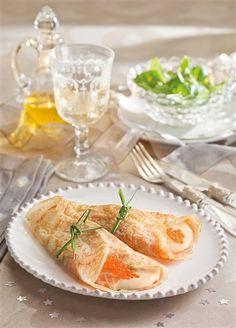 Crepes con crema de salmón