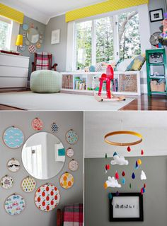 I love the fabric in the embroidery hoops...Light & Bright: Happy Sun-Drenched Nursery | The Stir