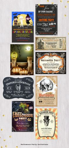 Halloween Party Invitations for Kids and Adults.  #HalloweenInvitations