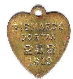 1919 BISMARCK, ND Dog License Collar Tag.