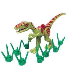 Lego Dinosaur Coelophysis/Raptor - Olive Green with Dark Red Markings and Grass Stems Lego Dinosaur, Dinosaur Funny, Lego Jurassic Park, Santa Wish List, Lego Animals, Buy Lego, Lego Parts, Dark Fantasy Art, Legos