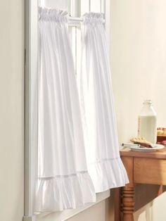 Ruffle Curtains, Short Curtains, Tier Curtains, Priscilla Curtains, Farmhouse Style Curtains, Curtain Styles, Curtain Ideas, Custom Drapes, Small Windows