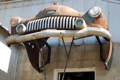 Entrance to an auto body shop.  How unique!