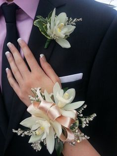... Cymbidium Orchid wrist Corsage and Boutonniere | corsages | Pinterest