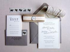 Shannon + Phillipe's Peach and Gray Brunch Wedding Invitations | Design + Photo: Studio SloMo