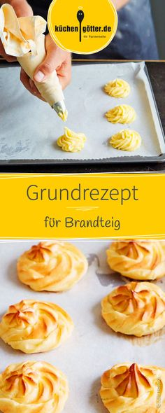 Grundrezept Brandteig Airy, light choux pastry is super easy and quick to prepare with this basic recipe. Easy Cookie Recipes, Healthy Dessert Recipes, Vegetarian Recipes, Desserts, Pasta Choux, Biscuit Oreo, Vanilla Recipes, Choux Pastry, Chocolate Chip Recipes