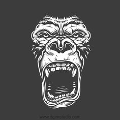Black and white Vector design illustration of a furious gorilla. Created with Gorilla creator by DGIM Studio. With this product you can create a series of Gorilla designs.