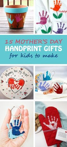 15 Mother's Day handprint gifts for kids to make for moms and grandmothers. Easy Mother's Day crafts for toddlers, preschoolers and kindergartners. Handprint keepsake: flower pot, tulip towel, platter, mugs, keychain, oven mitt, apron, potholder, tote bags, mason jar vase, photo frame, canvas   at Non-Toy Gifts