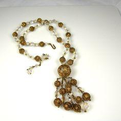 On Sale Vintage Crystal Pierced Brass Tassle Tassel Necklace