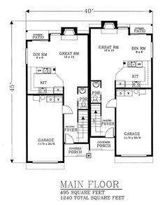 Duplex Plan chp-22525 at COOLhouseplans.com