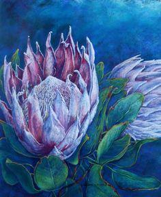 'Protea' (Pastel). Helen Miles Chalk Pastel Art, Chalk Pastels, Soft Pastels, Protea Art, South African Artists, Flower Art, Art Flowers, Watercolor Paintings, Floral Paintings